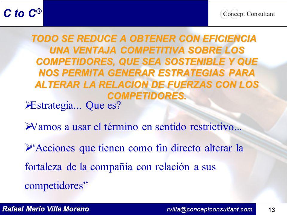 Rafael Mario Villa Moreno rvilla@conceptconsultant.com 13 C to C ® TODO SE REDUCE A OBTENER CON EFICIENCIA UNA VENTAJA COMPETITIVA SOBRE LOS COMPETIDO