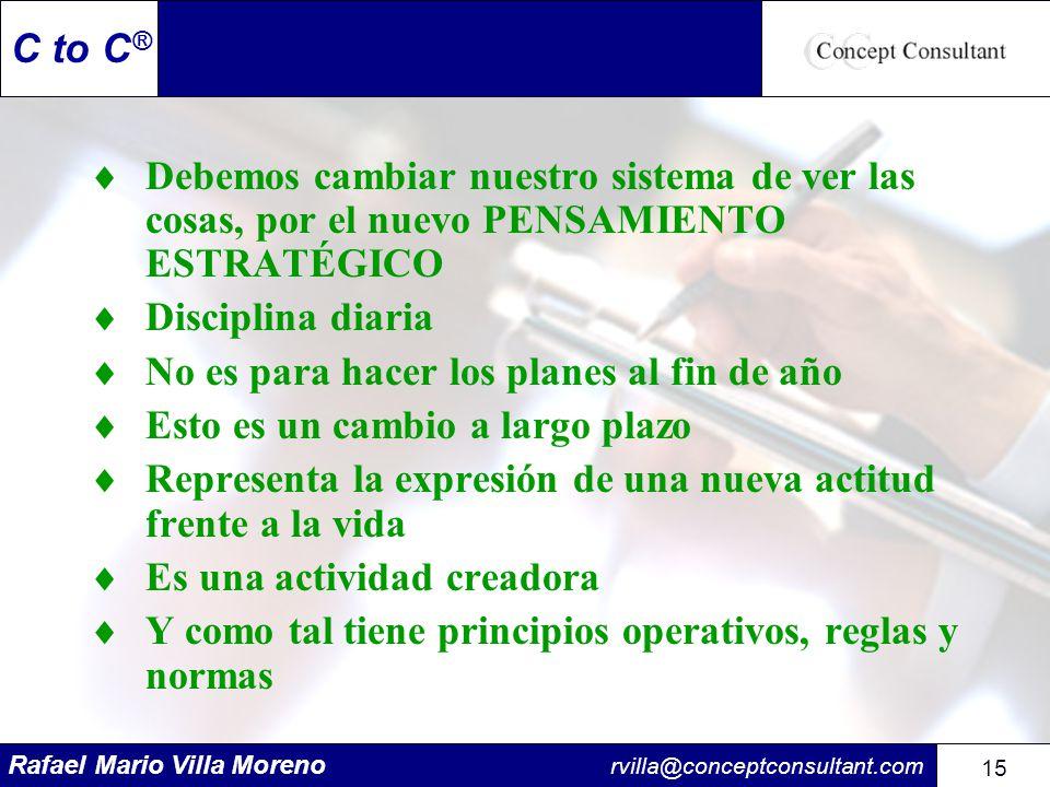 Rafael Mario Villa Moreno rvilla@conceptconsultant.com 15 C to C ® Debemos cambiar nuestro sistema de ver las cosas, por el nuevo PENSAMIENTO ESTRATÉG