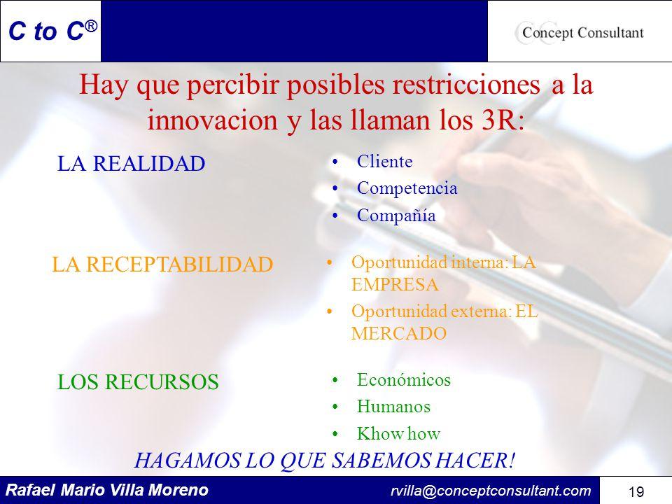 Rafael Mario Villa Moreno rvilla@conceptconsultant.com 19 C to C ® Hay que percibir posibles restricciones a la innovacion y las llaman los 3R: LA REA