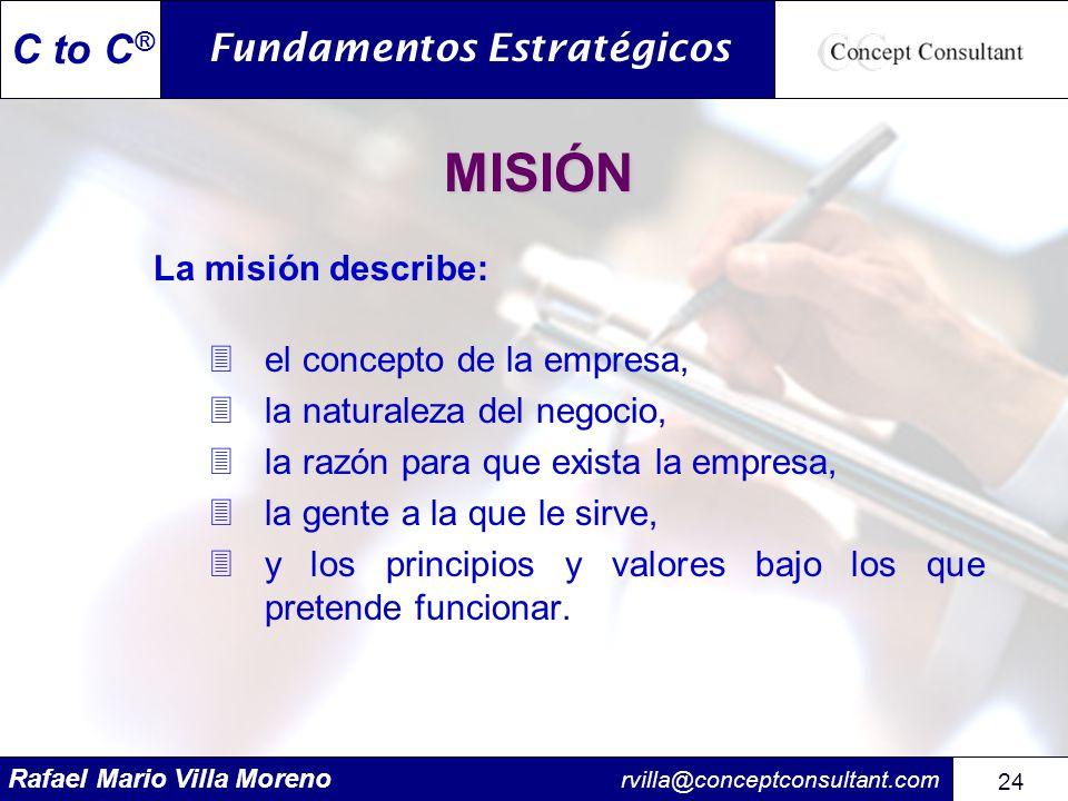 Rafael Mario Villa Moreno rvilla@conceptconsultant.com 24 C to C ® MISIÓN La misión describe: 3el concepto de la empresa, 3la naturaleza del negocio,