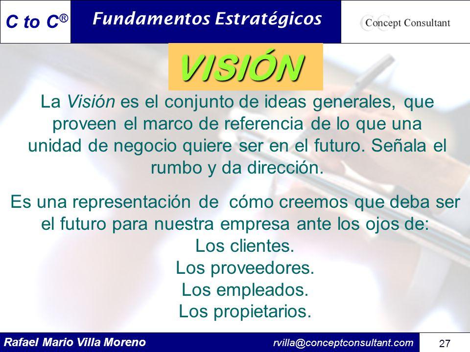 Rafael Mario Villa Moreno rvilla@conceptconsultant.com 27 C to C ® La Visión es el conjunto de ideas generales, que proveen el marco de referencia de