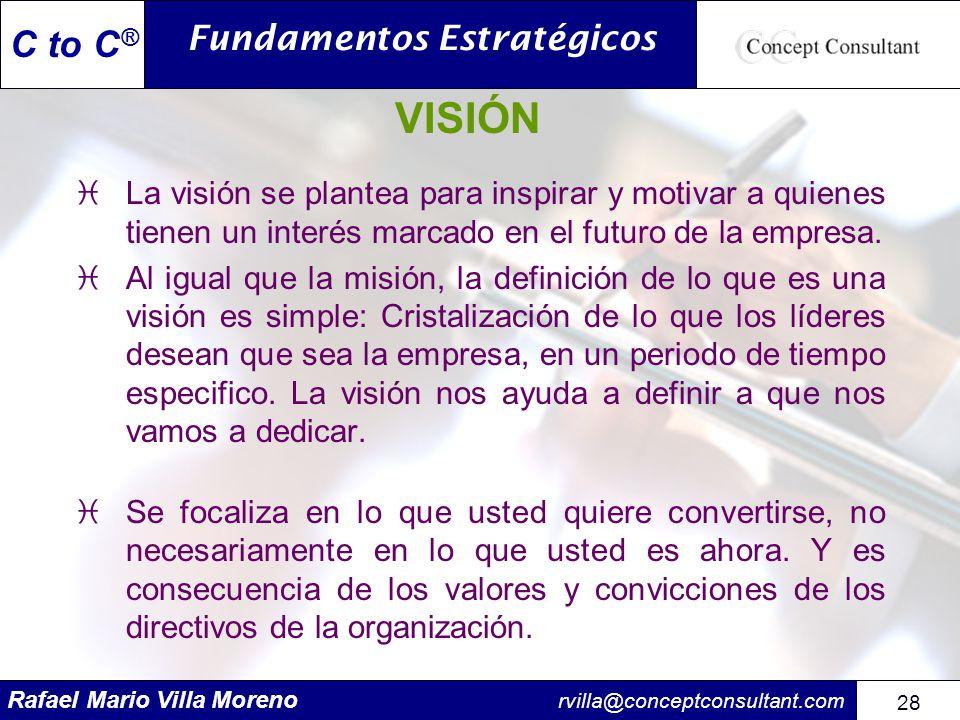 Rafael Mario Villa Moreno rvilla@conceptconsultant.com 28 C to C ® VISIÓN iLa visión se plantea para inspirar y motivar a quienes tienen un interés ma