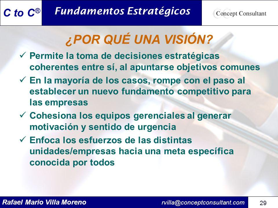 Rafael Mario Villa Moreno rvilla@conceptconsultant.com 29 C to C ® ¿POR QUÉ UNA VISIÓN? Permite la toma de decisiones estratégicas coherentes entre sí
