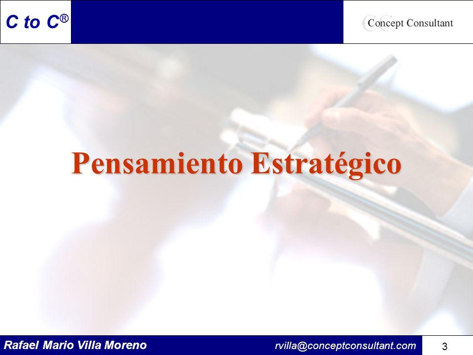 Rafael Mario Villa Moreno rvilla@conceptconsultant.com 104 C to C ® Revisión del Plan Estratégico La revisión regular del plan le ayudará a: Mantener frescas la misión, visión y estrategia.
