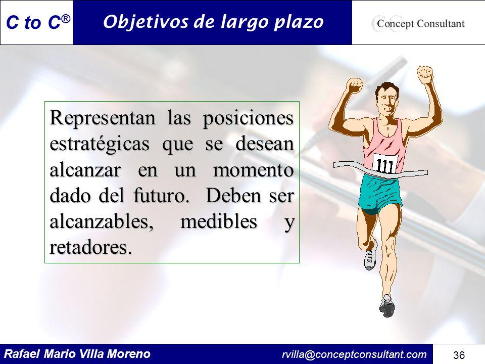 Rafael Mario Villa Moreno rvilla@conceptconsultant.com 36 C to C ® Objetivos de largo plazo Representan las posiciones estratégicas que se desean alca