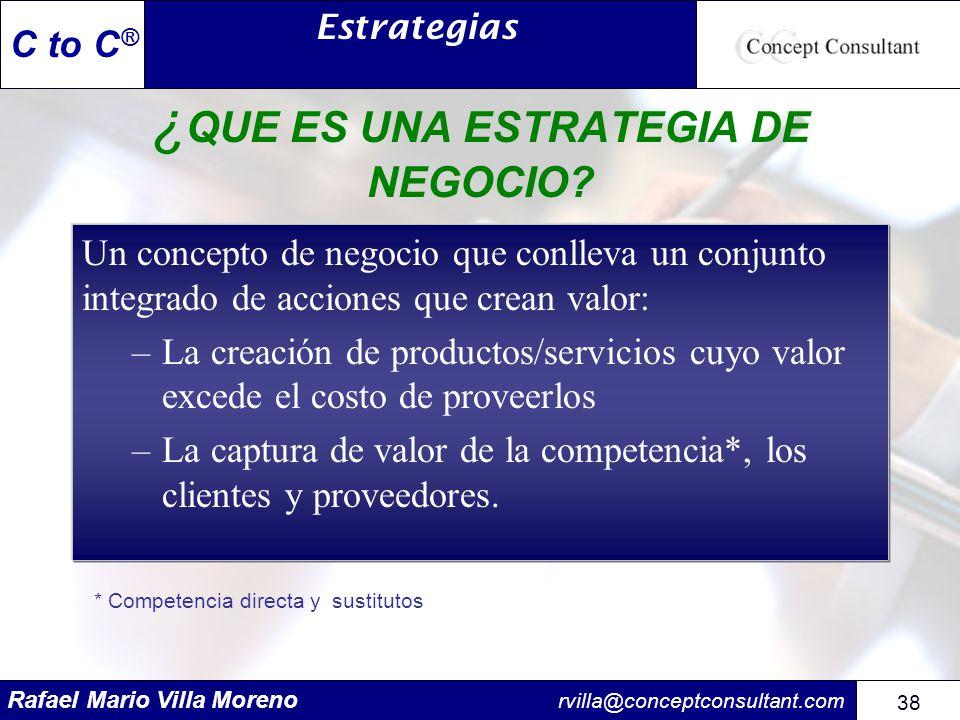 Rafael Mario Villa Moreno rvilla@conceptconsultant.com 38 C to C ® ¿ QUE ES UNA ESTRATEGIA DE NEGOCIO? Un concepto de negocio que conlleva un conjunto
