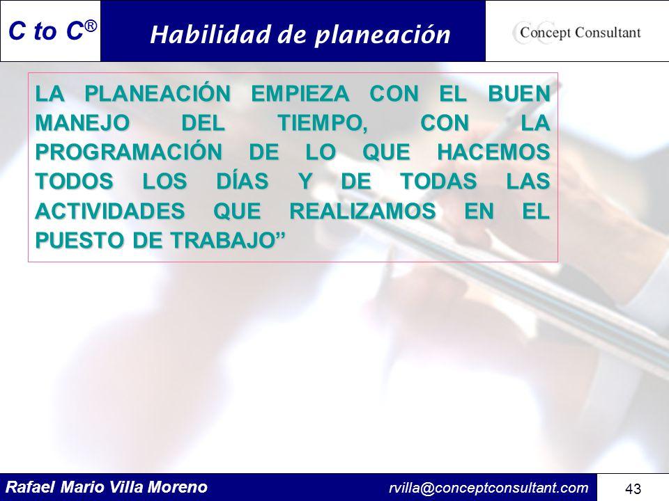 Rafael Mario Villa Moreno rvilla@conceptconsultant.com 43 C to C ® LA PLANEACIÓN EMPIEZA CON EL BUEN MANEJO DEL TIEMPO, CON LA PROGRAMACIÓN DE LO QUE