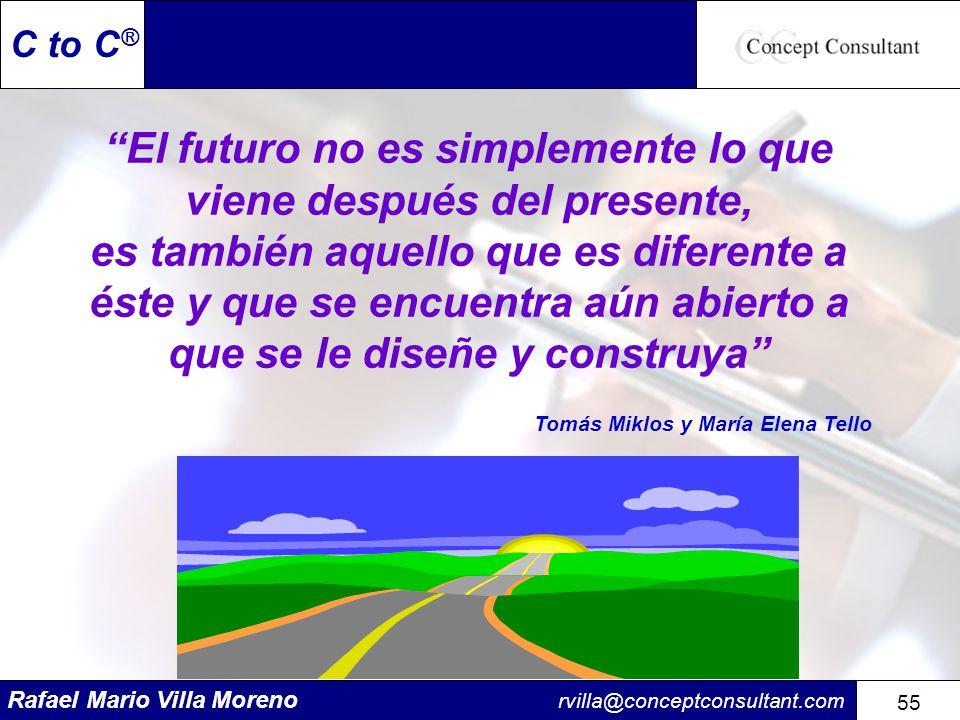 Rafael Mario Villa Moreno rvilla@conceptconsultant.com 55 C to C ® El futuro no es simplemente lo que viene después del presente, es también aquello q