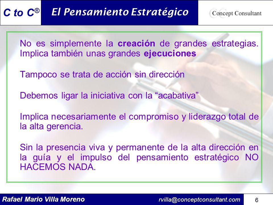 Rafael Mario Villa Moreno rvilla@conceptconsultant.com 67 C to C ® Planes estratégicos de acción Son los principales pasos o puntos de referencia que se requieren para avanzar hacia el logro de los objetivos de largo plazo que se han planteado.