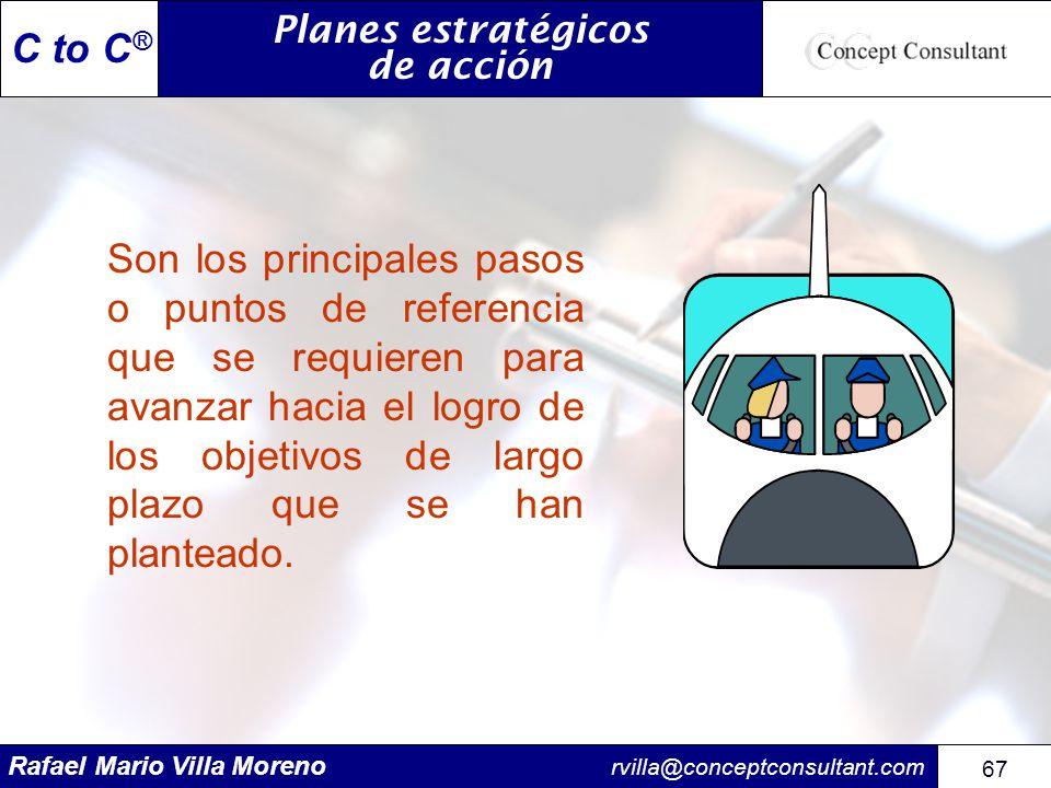 Rafael Mario Villa Moreno rvilla@conceptconsultant.com 67 C to C ® Planes estratégicos de acción Son los principales pasos o puntos de referencia que
