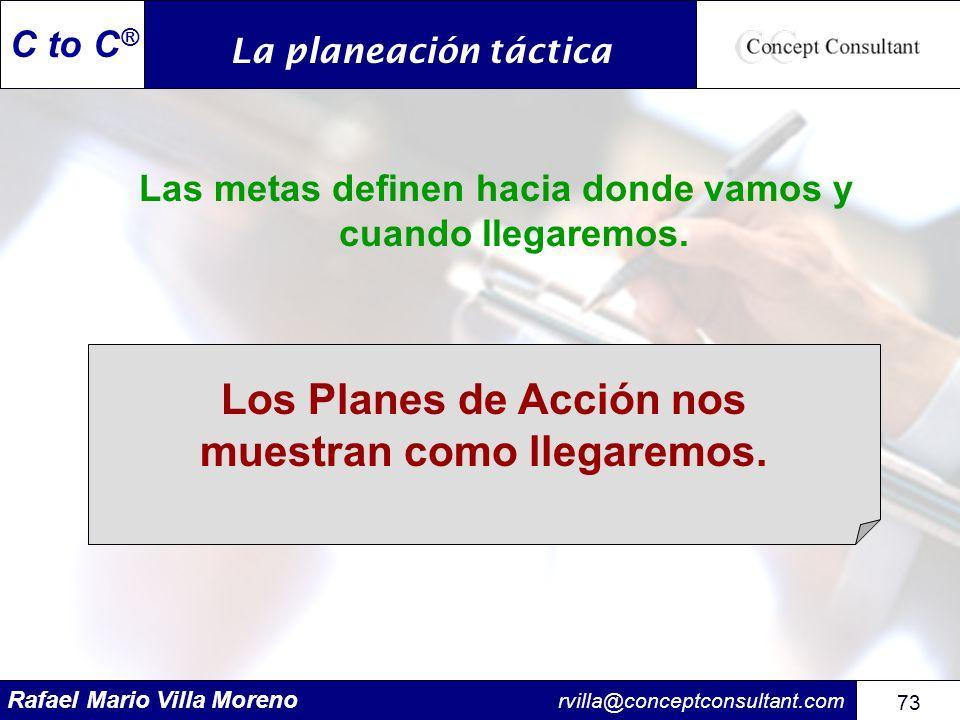 Rafael Mario Villa Moreno rvilla@conceptconsultant.com 73 C to C ® Las metas definen hacia donde vamos y cuando llegaremos. Los Planes de Acción nos m