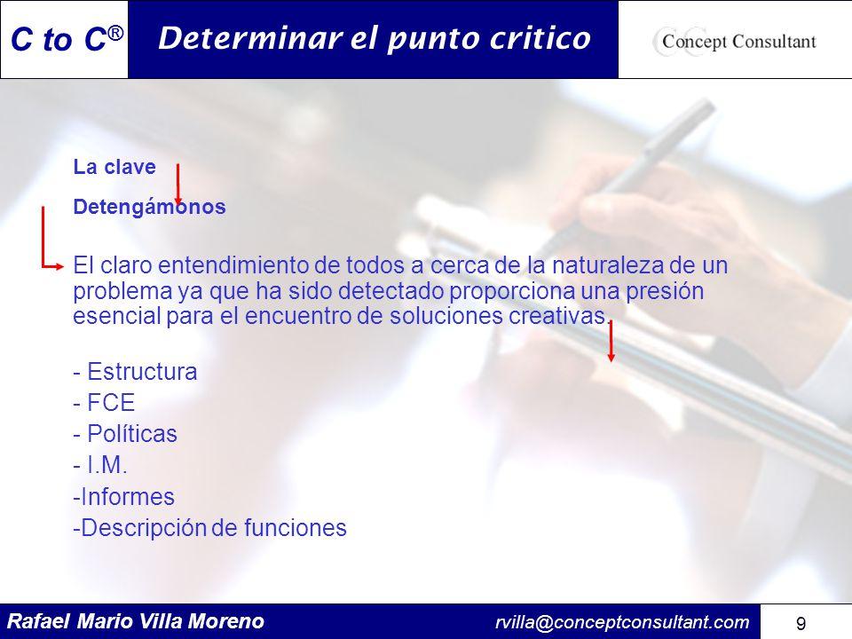 Rafael Mario Villa Moreno rvilla@conceptconsultant.com 9 9 C to C ® Determinar el punto critico La clave Detengámonos El claro entendimiento de todos