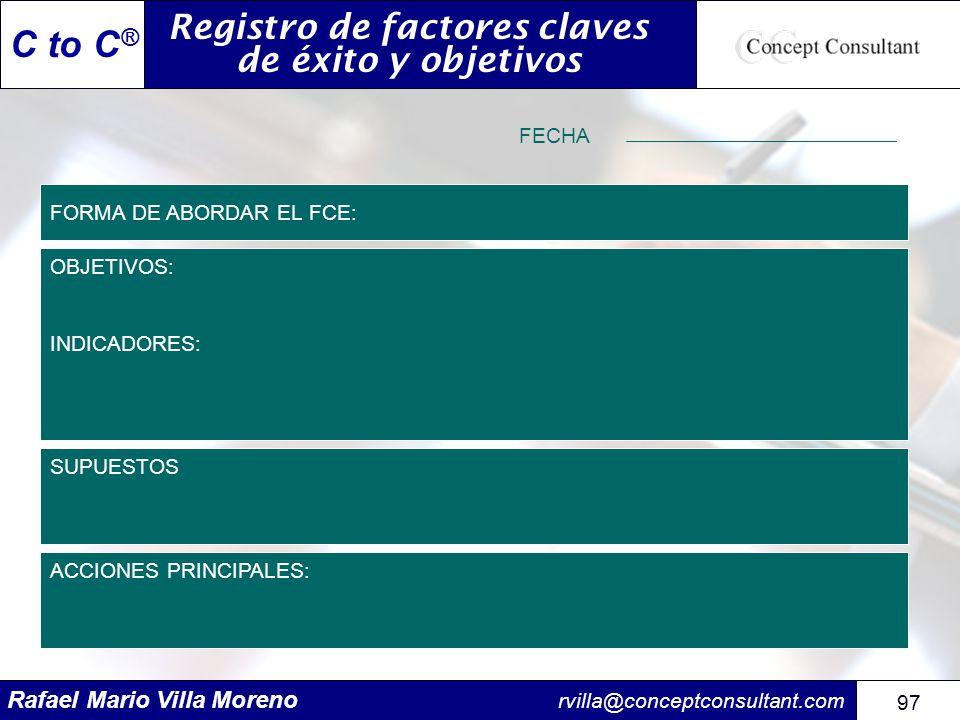 Rafael Mario Villa Moreno rvilla@conceptconsultant.com 97 C to C ® FORMA DE ABORDAR EL FCE: OBJETIVOS: INDICADORES: Registro de factores claves de éxi