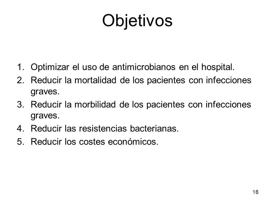 1.Optimizar el uso de antimicrobianos en el hospital. 2.Reducir la mortalidad de los pacientes con infecciones graves. 3.Reducir la morbilidad de los