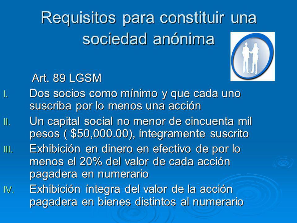 Requisitos para constituir una sociedad anónima Art. 89 LGSM Art. 89 LGSM I. Dos socios como mínimo y que cada uno suscriba por lo menos una acción II