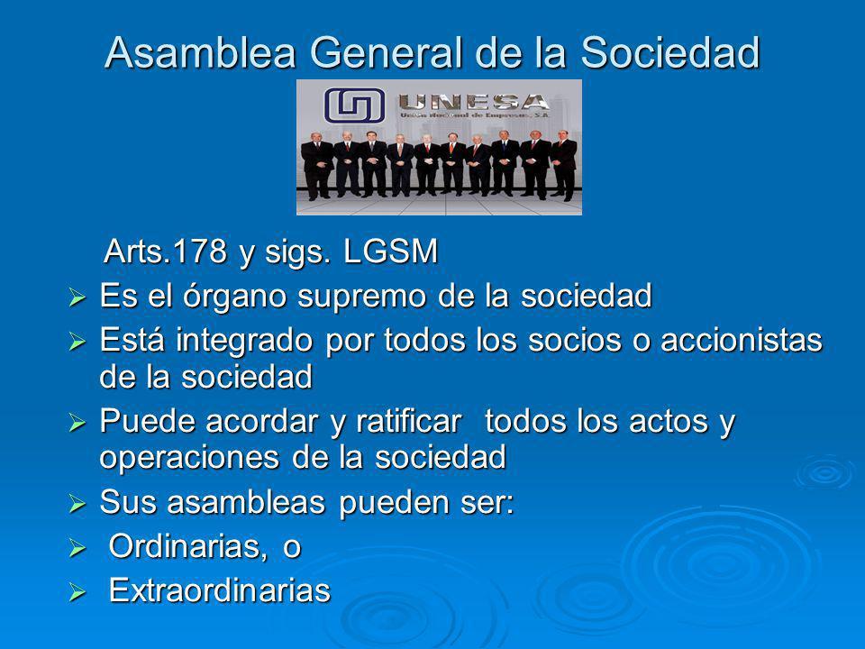 Asamblea General de la Sociedad Arts.178 y sigs. LGSM Arts.178 y sigs. LGSM Es el órgano supremo de la sociedad Es el órgano supremo de la sociedad Es