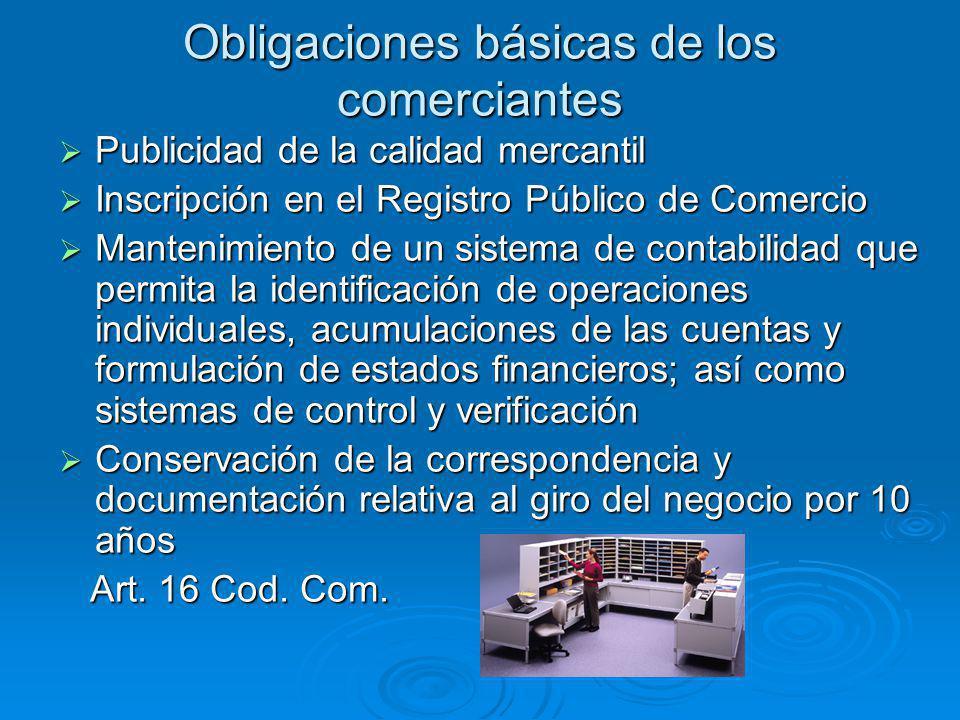 Obligaciones básicas de los comerciantes Publicidad de la calidad mercantil Publicidad de la calidad mercantil Inscripción en el Registro Público de C