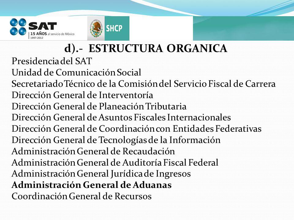 d).- ESTRUCTURA ORGANICA P residencia del SAT Unidad de Comunicación Social Secretariado Técnico de la Comisión del Servicio Fiscal de Carrera Direcci