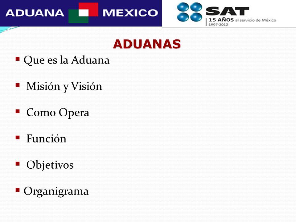 ADUANAS Que es la Aduana Misión y Visión Como Opera Función Objetivos Organigrama