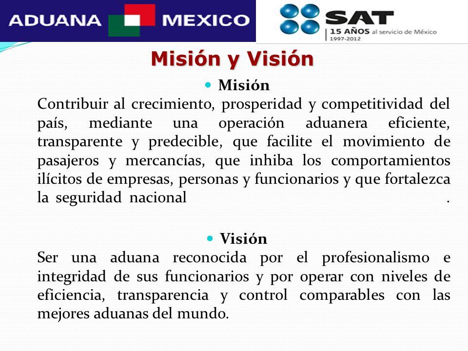 Misión y Visión Misión Contribuir al crecimiento, prosperidad y competitividad del país, mediante una operación aduanera eficiente, transparente y pre