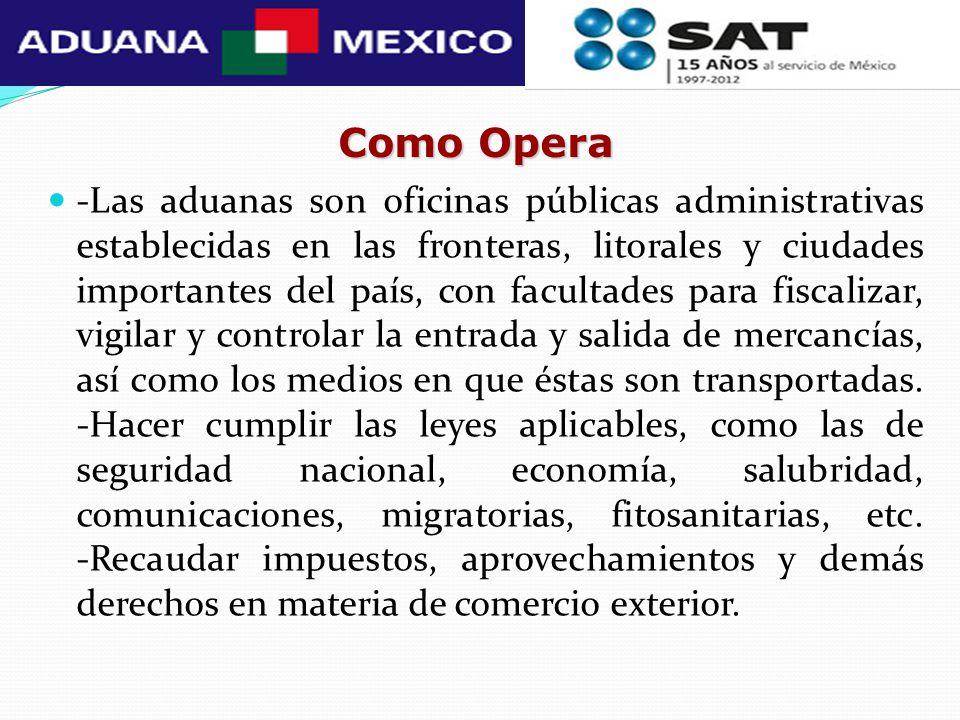 Como Opera -Las aduanas son oficinas públicas administrativas establecidas en las fronteras, litorales y ciudades importantes del país, con facultades