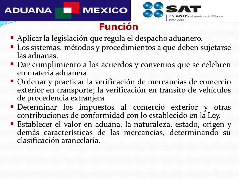 Función Aplicar la legislación que regula el despacho aduanero. Los sistemas, métodos y procedimientos a que deben sujetarse las aduanas. Dar cumplimi