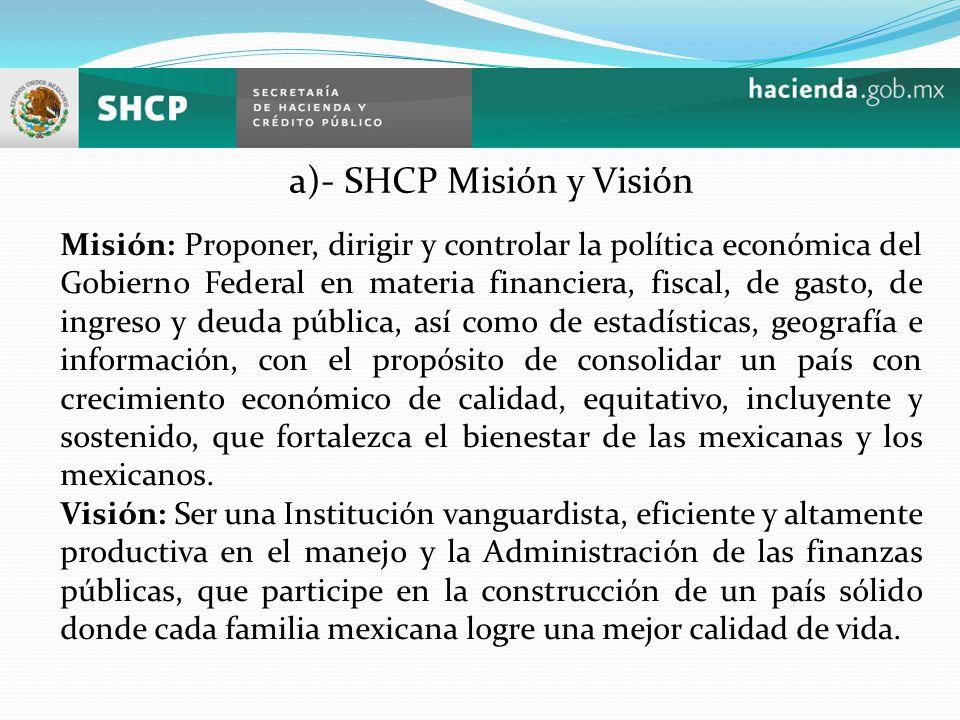 a)- SHCP Misión y Visión Misión: Proponer, dirigir y controlar la política económica del Gobierno Federal en materia financiera, fiscal, de gasto, de