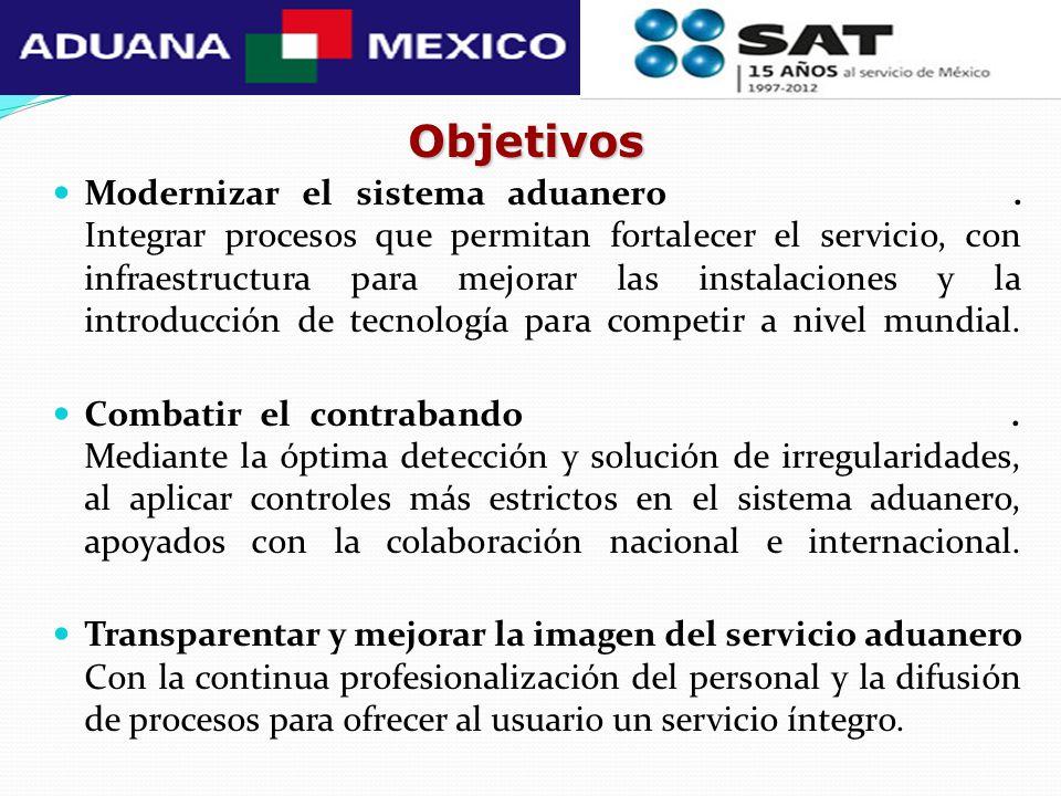 Objetivos Modernizar el sistema aduanero. Integrar procesos que permitan fortalecer el servicio, con infraestructura para mejorar las instalaciones y
