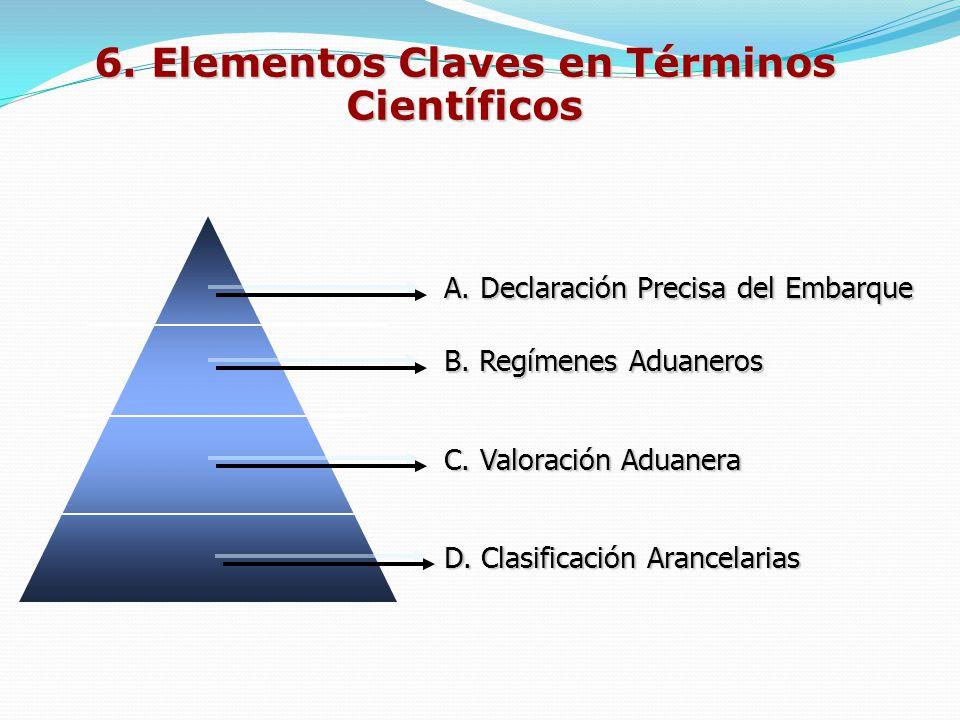 6. Elementos Claves en Términos Científicos A. Declaración Precisa del Embarque C. Valoración Aduanera D. Clasificación Arancelarias B. Regímenes Adua