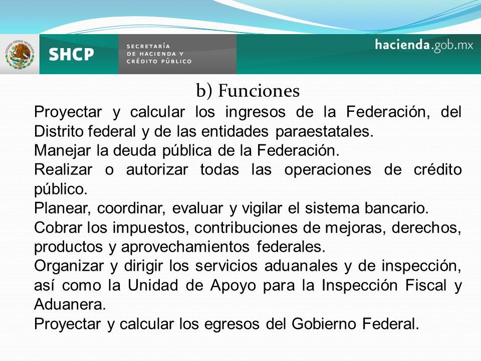b) Funciones Proyectar y calcular los ingresos de la Federación, del Distrito federal y de las entidades paraestatales. Manejar la deuda pública de la