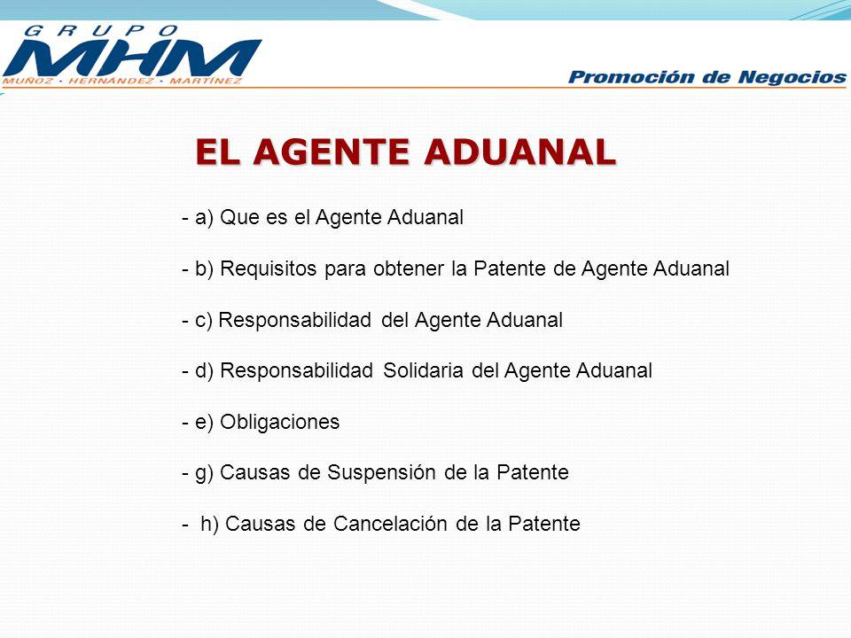 EL AGENTE ADUANAL - a) Que es el Agente Aduanal - b) Requisitos para obtener la Patente de Agente Aduanal - c) Responsabilidad del Agente Aduanal - d)