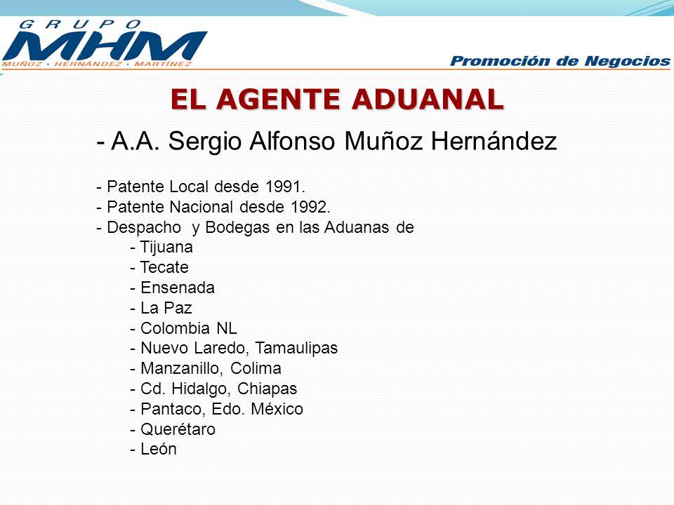 EL AGENTE ADUANAL - A.A. Sergio Alfonso Muñoz Hernández - Patente Local desde 1991. - Patente Nacional desde 1992. - Despacho y Bodegas en las Aduanas