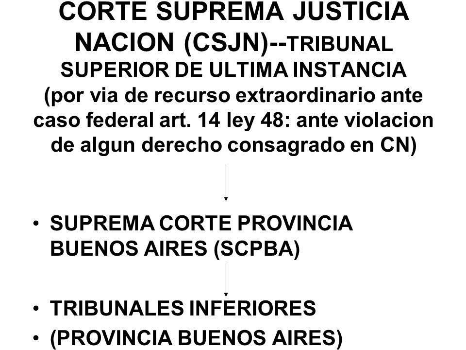 CORTE SUPREMA JUSTICIA NACION (CSJN)-- TRIBUNAL SUPERIOR DE ULTIMA INSTANCIA (por via de recurso extraordinario ante caso federal art. 14 ley 48: ante
