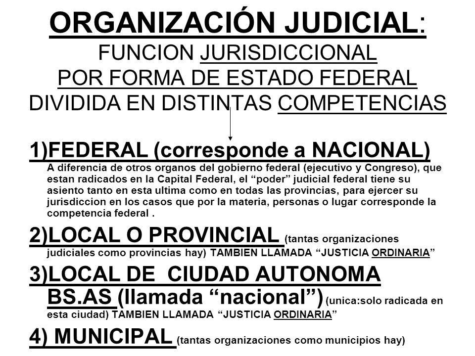 ORGANIZACIÓN JUDICIAL: FUNCION JURISDICCIONAL POR FORMA DE ESTADO FEDERAL DIVIDIDA EN DISTINTAS COMPETENCIAS 1)FEDERAL (corresponde a NACIONAL) A dife