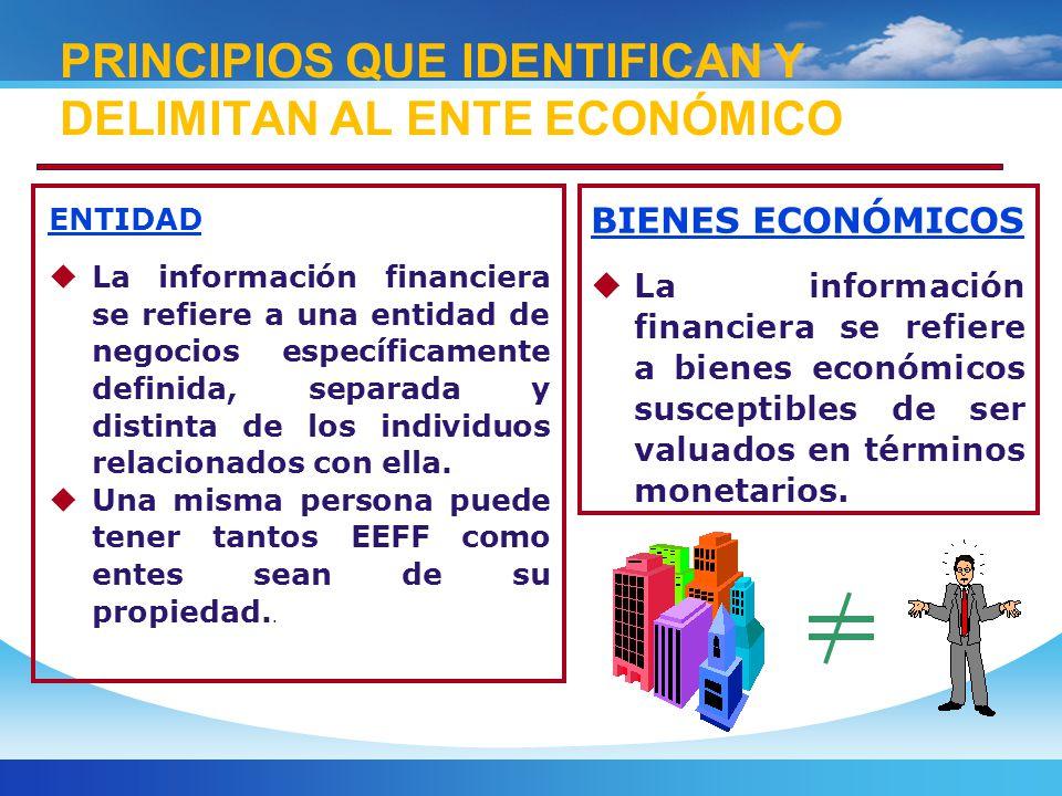 ENTIDAD La información financiera se refiere a una entidad de negocios específicamente definida, separada y distinta de los individuos relacionados con ella.