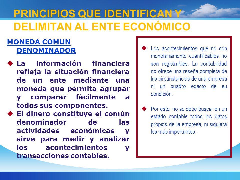 MONEDA COMUN DENOMINADOR La información financiera refleja la situación financiera de un ente mediante una moneda que permita agrupar y comparar fácilmente a todos sus componentes.