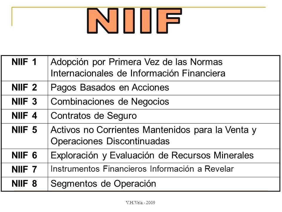 NIIF 1 Adopción por Primera Vez de las Normas Internacionales de Información Financiera NIIF 2 Pagos Basados en Acciones NIIF 3 Combinaciones de Negocios NIIF 4 Contratos de Seguro NIIF 5 Activos no Corrientes Mantenidos para la Venta y Operaciones Discontinuadas NIIF 6 Exploración y Evaluación de Recursos Minerales NIIF 7 Instrumentos Financieros Información a Revelar NIIF 8 Segmentos de Operación V.H.Vela - 2009