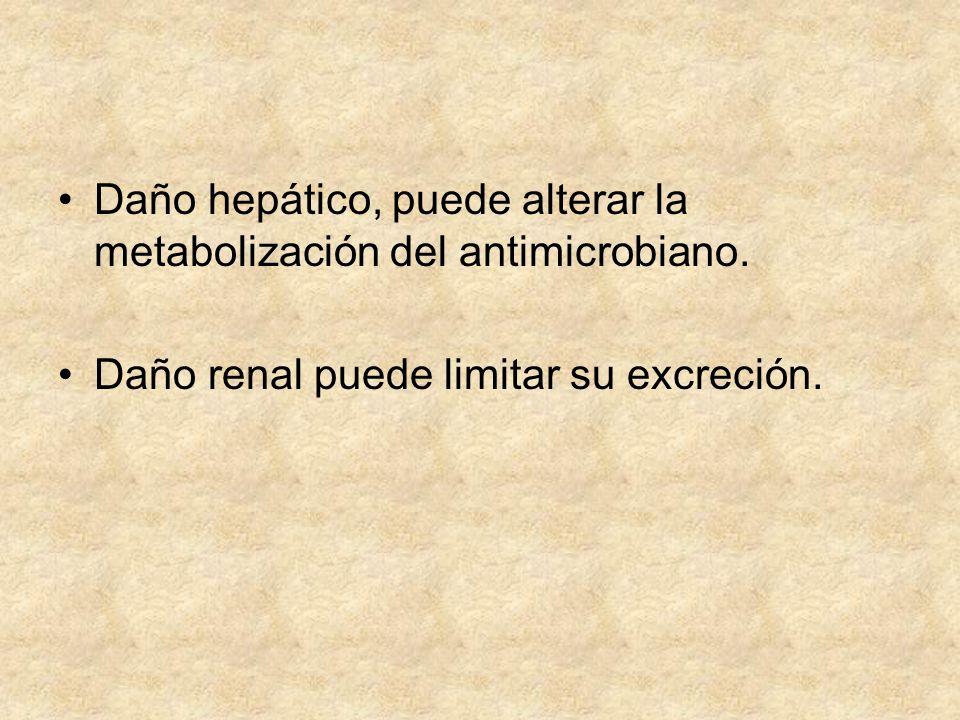 Daño hepático, puede alterar la metabolización del antimicrobiano. Daño renal puede limitar su excreción.