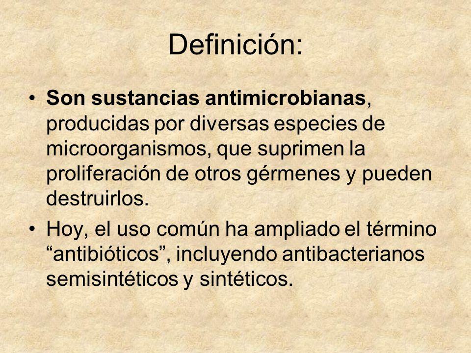 Definición: Son sustancias antimicrobianas, producidas por diversas especies de microorganismos, que suprimen la proliferación de otros gérmenes y pue