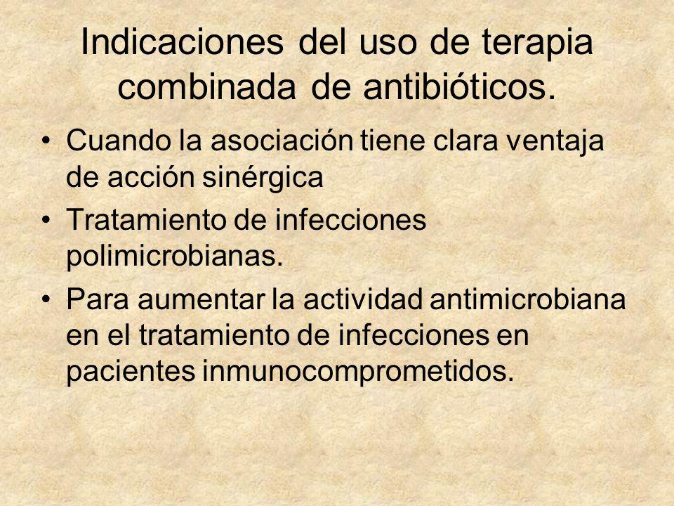Indicaciones del uso de terapia combinada de antibióticos. Cuando la asociación tiene clara ventaja de acción sinérgica Tratamiento de infecciones pol