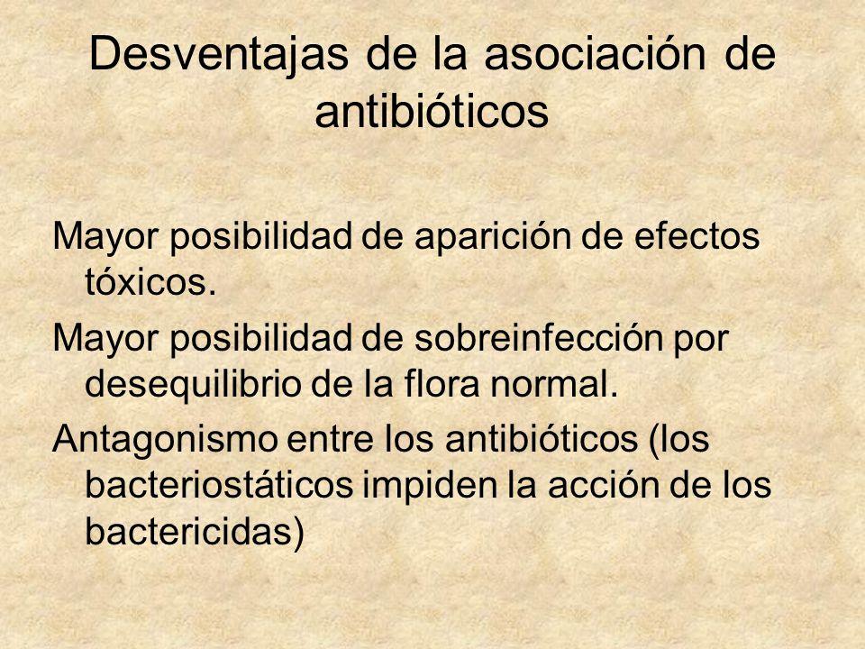Desventajas de la asociación de antibióticos Mayor posibilidad de aparición de efectos tóxicos. Mayor posibilidad de sobreinfección por desequilibrio
