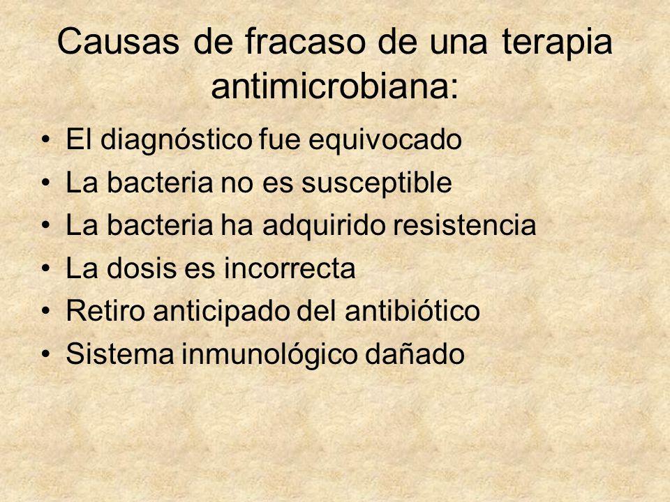Causas de fracaso de una terapia antimicrobiana: El diagnóstico fue equivocado La bacteria no es susceptible La bacteria ha adquirido resistencia La d