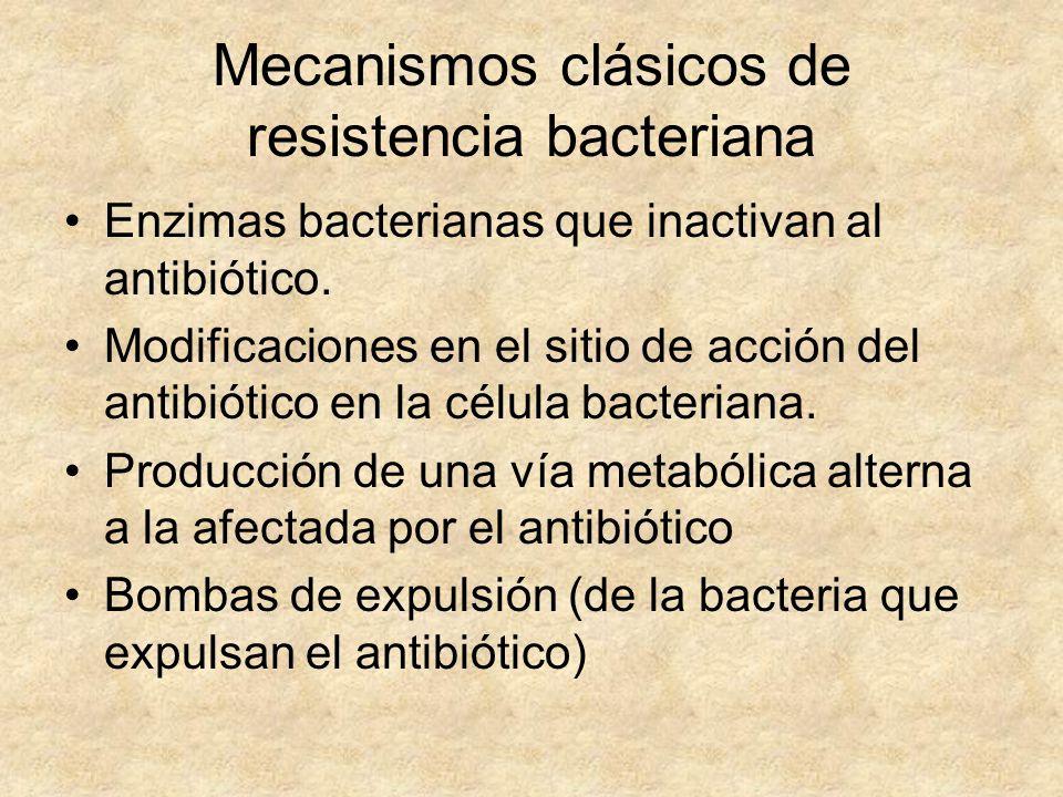 Mecanismos clásicos de resistencia bacteriana Enzimas bacterianas que inactivan al antibiótico. Modificaciones en el sitio de acción del antibiótico e