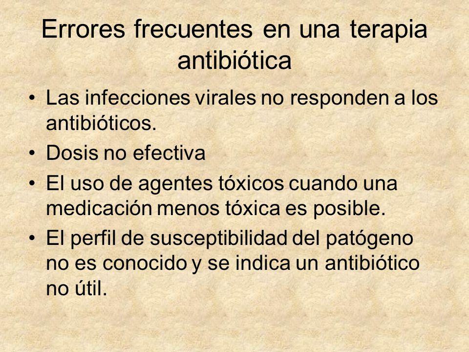 Errores frecuentes en una terapia antibiótica Las infecciones virales no responden a los antibióticos. Dosis no efectiva El uso de agentes tóxicos cua