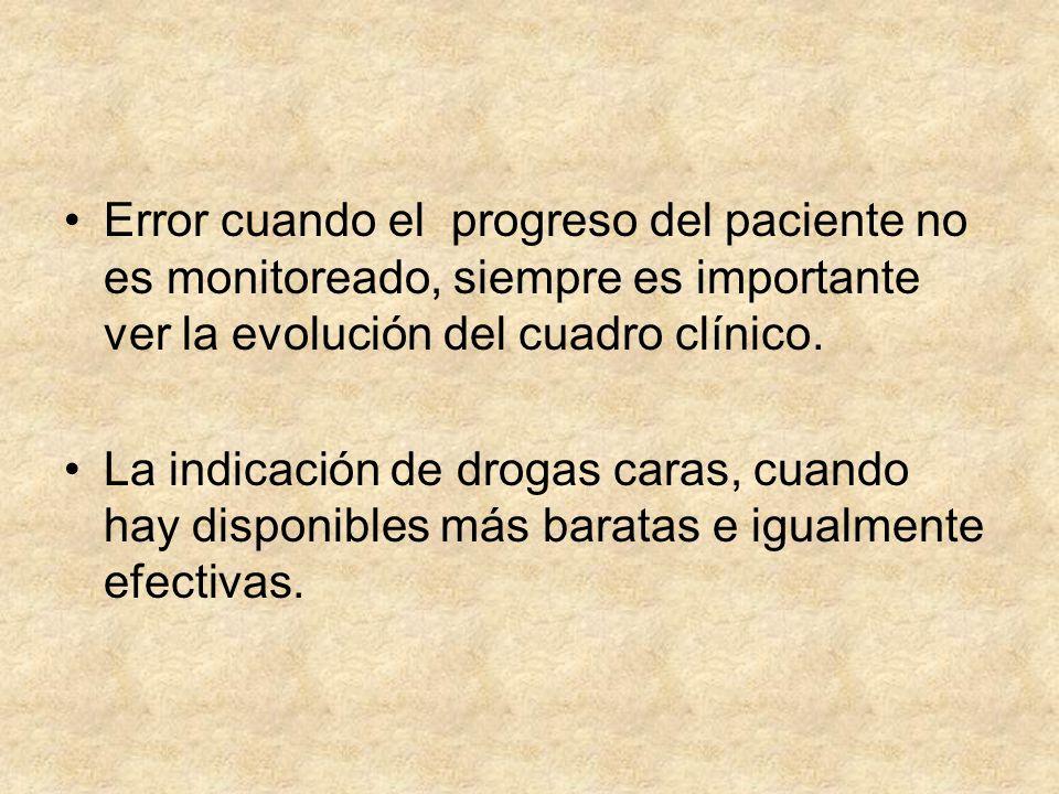 Error cuando el progreso del paciente no es monitoreado, siempre es importante ver la evolución del cuadro clínico. La indicación de drogas caras, cua
