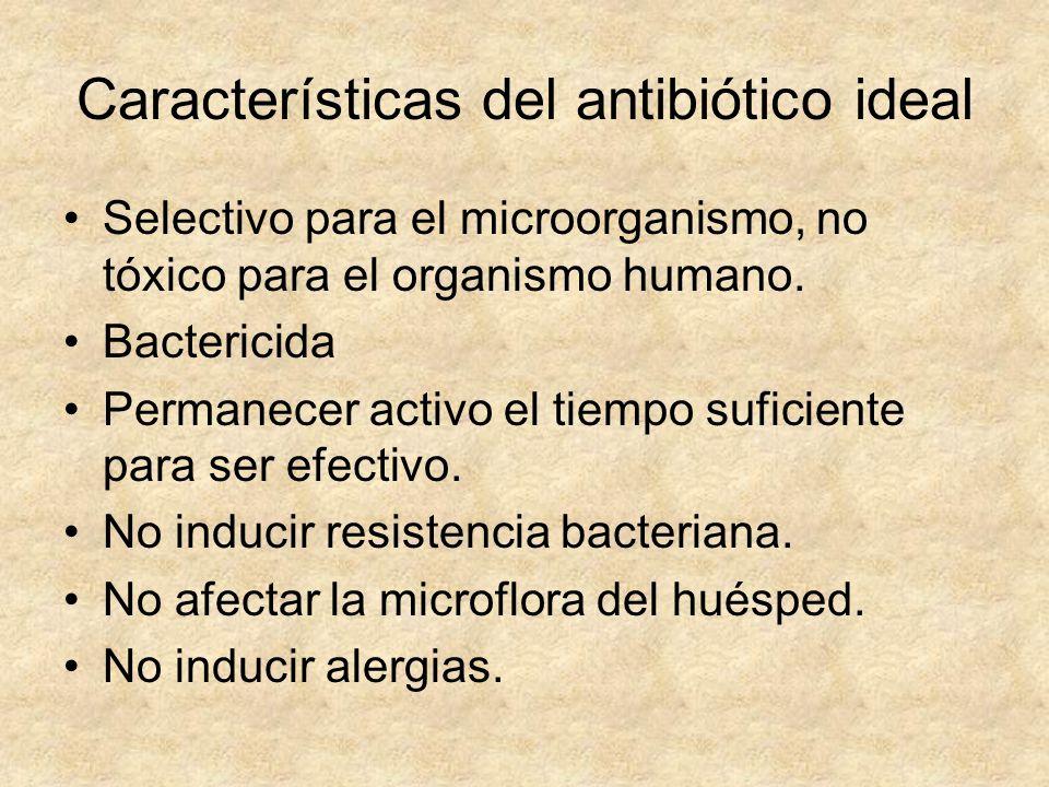 Características del antibiótico ideal Selectivo para el microorganismo, no tóxico para el organismo humano. Bactericida Permanecer activo el tiempo su