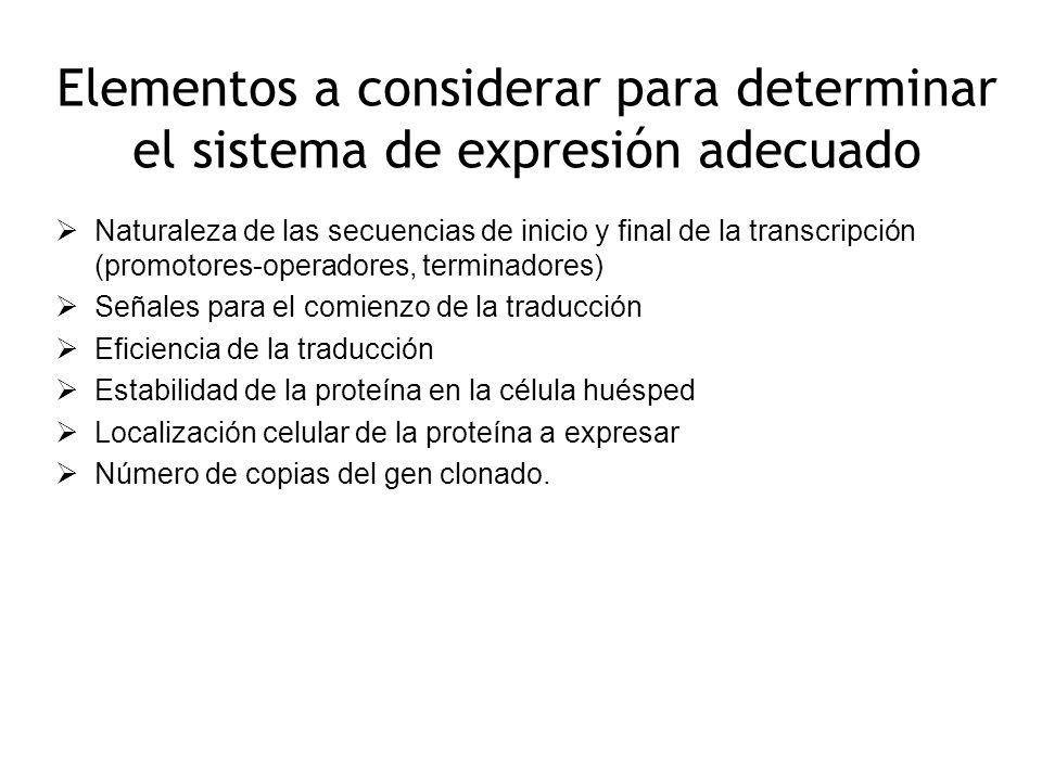 Elementos a considerar para determinar el sistema de expresión adecuado Naturaleza de las secuencias de inicio y final de la transcripción (promotores