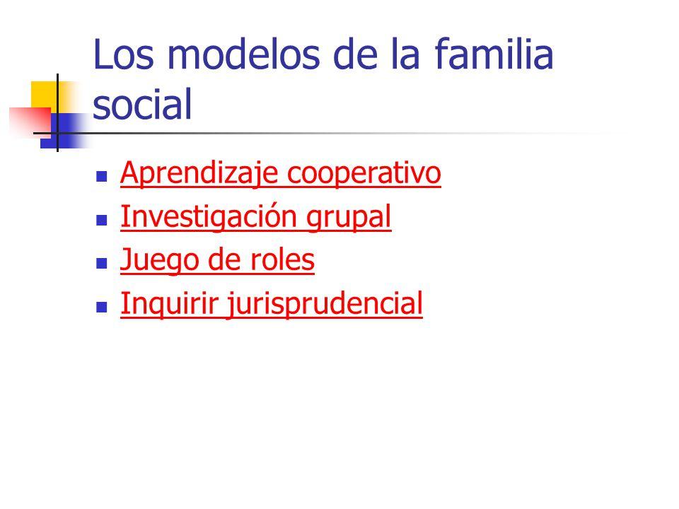 Los modelos de la familia social Aprendizaje cooperativo Investigación grupal Juego de roles Inquirir jurisprudencial