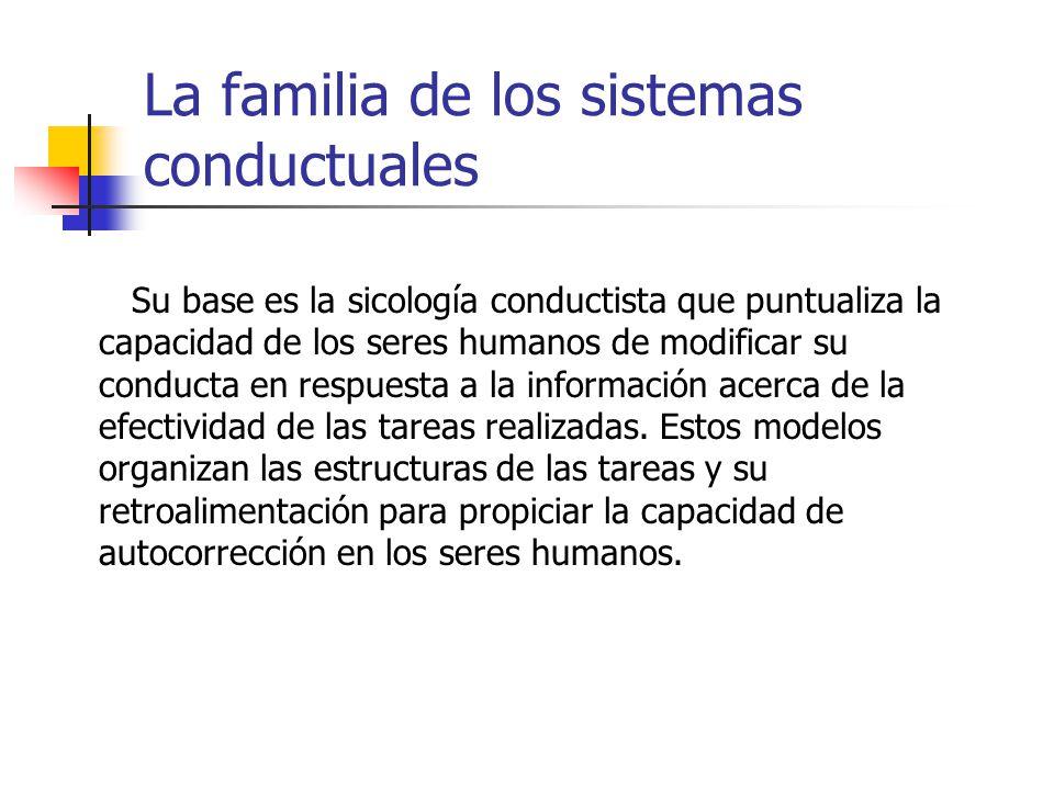 La familia de los sistemas conductuales Su base es la sicología conductista que puntualiza la capacidad de los seres humanos de modificar su conducta