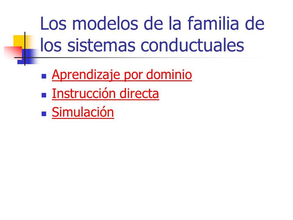Los modelos de la familia de los sistemas conductuales Aprendizaje por dominio Instrucción directa Simulación